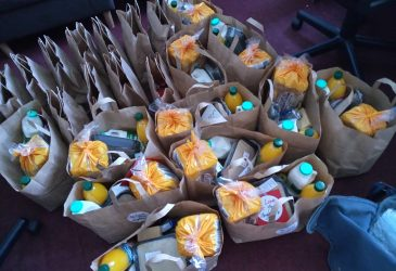 Photo showing food parcels donated to Route One clients