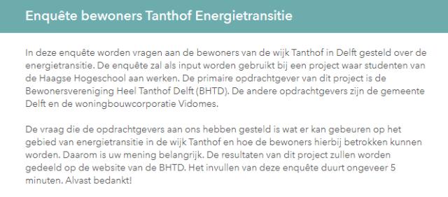 Enquête bewoners Tanthof Energietransitie INLEIDING