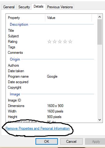 Remove Image properties
