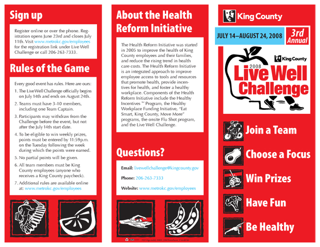 King County Live Well Challenge brochure (exterior)