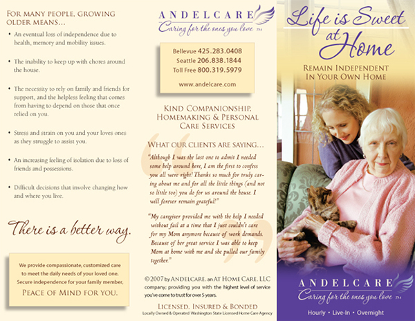 Andelcare tri-fold brochure, exterior side