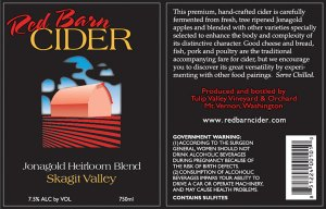 Flexographic printed product label for Red Barn Cider