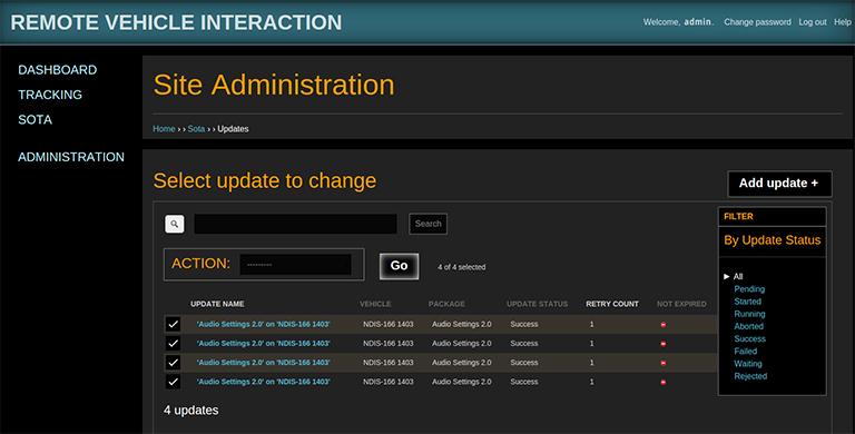 RVI and SOTA application Site Admin interface