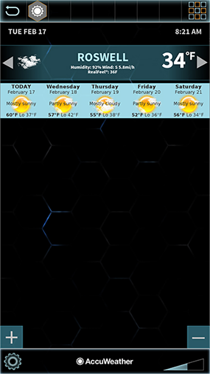 Swipe each location banner left for 5 day forecast