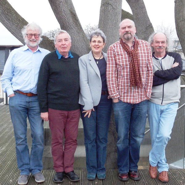 Liz Thomson with (from left) Bill Samuel, Dave Laing, Anthony Keates and Michael Brocken (Photo: Vivienne Wordley)