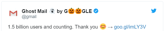 Google tweet about 1.5 Billion users