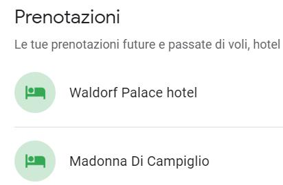 Prenotazioni hotel passate