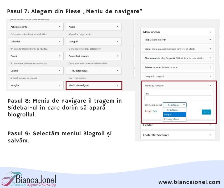 Pasul 4 adaugare Blogroll in WordPress tutorial Bianca Ionel 2020