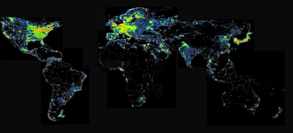 wereld uitgedrukt in lichtvervuiling