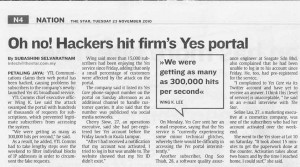 Oh no! Hackers hit firm's Yes portal