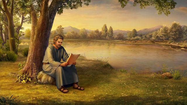 Pietro legge la Bibbia sotto l'albero