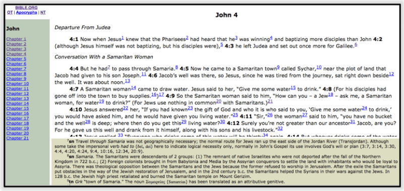 NET Bible John 4 example screenshot