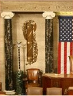 Fasces behind Speaker's chain in US House of Representatives