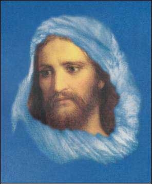 Head of Christ at 33 superimposed over Cloud of Matthew 24:3