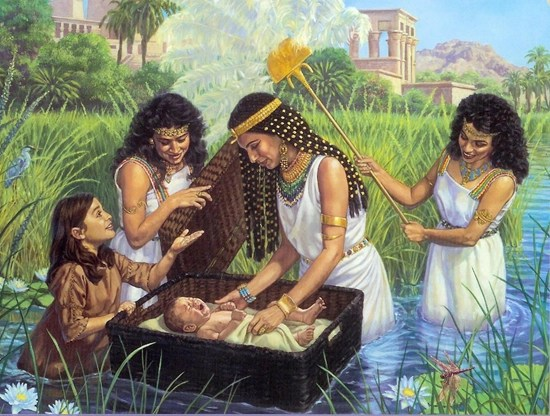 Baby Moses is discovered on the Nile (artist unknown)