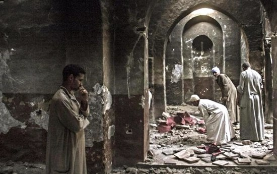 Christian persecution - a destroyed church
