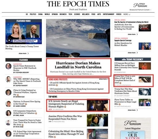 Front page of The Epoch Times