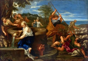Moses defending the daughters of Jethro - Ciro Ferri (about 1660)