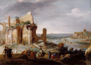 Moses and Aaron changing the rivers of Egypt to blood - Bartholomeus Breendergh (1631)