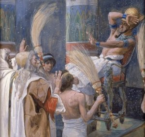 Moses and the plague of flies on Pharaoh and the Egyptians - Artist Unknown