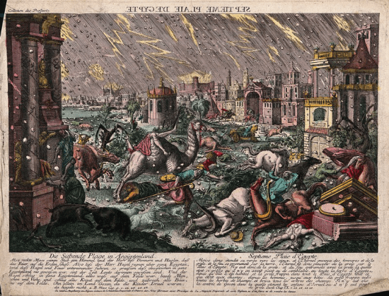 The plague of hail and thunder - Artist unknown (1775)