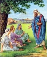 Abraham feeds his three guests