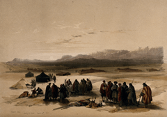 Desert Camp, with Mt. Seir in the distance (1849, Colored lithograph by Louis Haghe after David Roberts)
