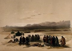 Desert camp with Mt. Seir in the distance (1849)
