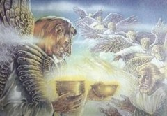 Angel with face of lion holding golden cup - Unknown artist