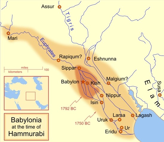Babylonia map (at the time of Hammurabi)
