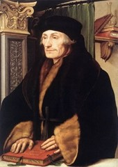 Portrait of Desiderius Erasmus of Rotterdam with Renaissance Pilaster.