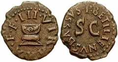 Augustus quadran coin - front and back