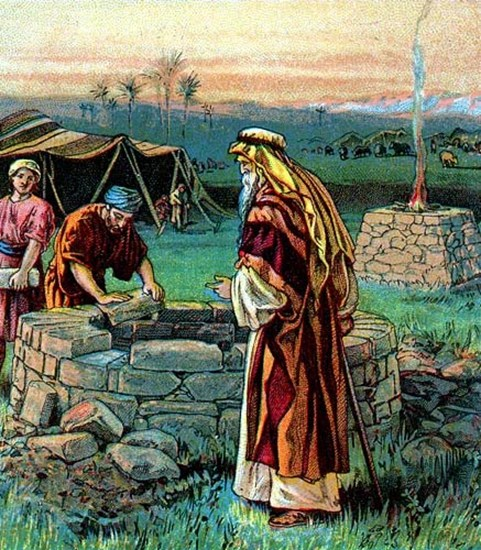 Abraham and Isaac building a well