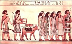 Ancient relief showing style of dress of Canaanite people