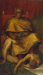 Mammon by George Frederick Watts in 1885 depicts the disparity of an unhappy rich king