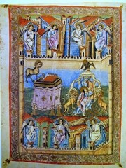 Folio 10 recto of the Bible of S Paolo fuori le Mura, Frontpiece for the Book of Revelations