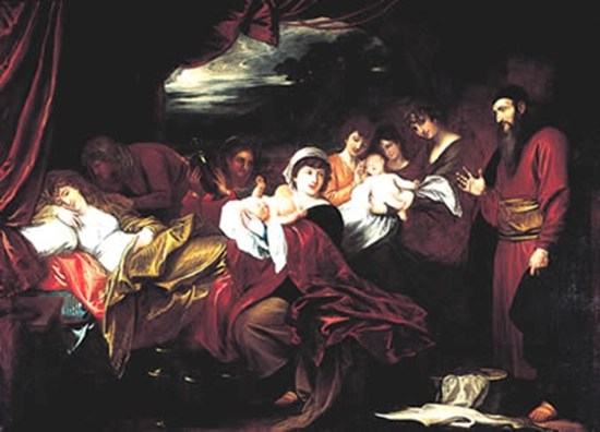 The birth of Esau and Jacob, as painted by Benjamin West