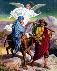To avoid Herod's wrath, an angel warns Joseph to take his family and flee to Egypt