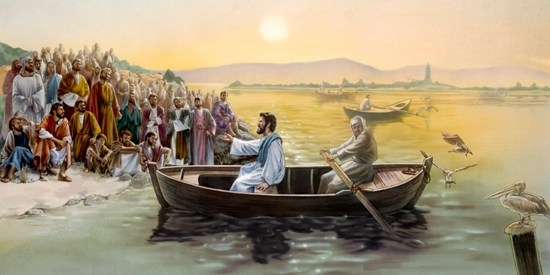 Jesus teaches from a boat - Artist unknown