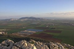 View from atop Megiddo which overlooks the narrow entrance to Israel's norther mountains from the Plain of Megiddo (aka Valley of Esdraelon)