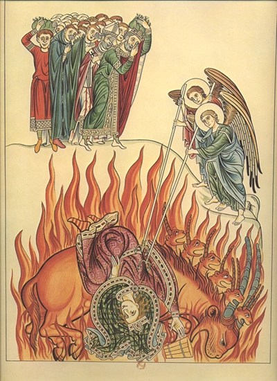 The whore of Babylon as illustrated in Hortus deliciarum by Herrad of Landsberg, 1180