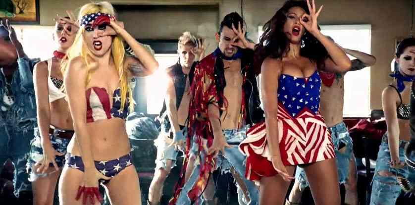 Capture d'écran: clip de Lady Gaga flashant le 666 digital