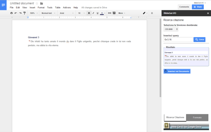 Screenshot BibleGet Google Docs