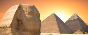 Guardian Sphinx guarding the tombs of the pharaohs in Giza. Cairo Egypt