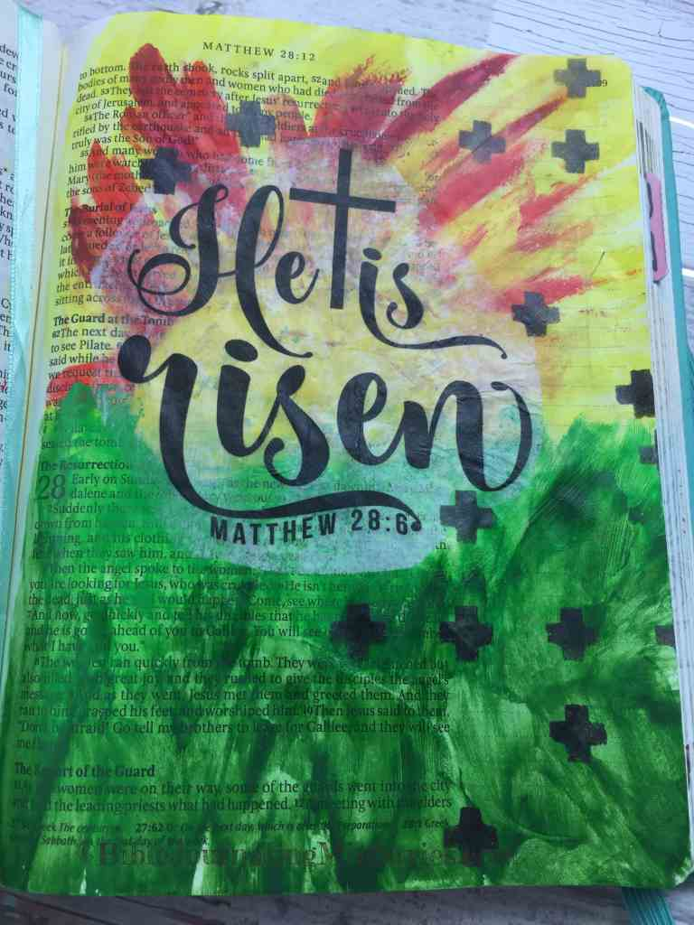 Bible Journaling Beautiful Verses Matthew 28:6