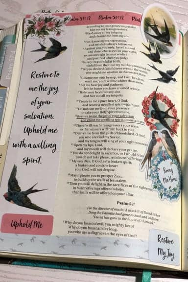 Joining the A Joyful Heart - Bible Journaling Study Psalm 51.12