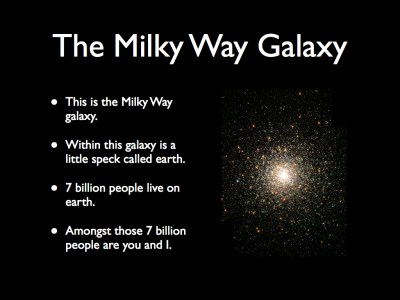 This is the Milky Way galaxy. Within this galaxy is a little speck called earth. 7 billion people live on earth. Amongst those 7 billion people are you and I.