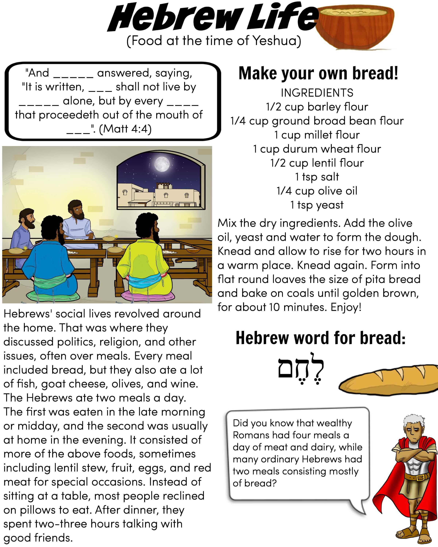 Hebrew Life Worksheet Food Bible Pathway Adventures
