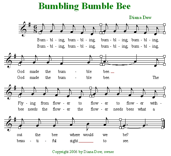 Bumbling Bumble Bee by Diana Dow. A song for young children.