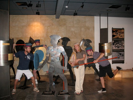 Models of ancient Philistines mixed with some modern Philistines found fooling around at the Ashdod museum!